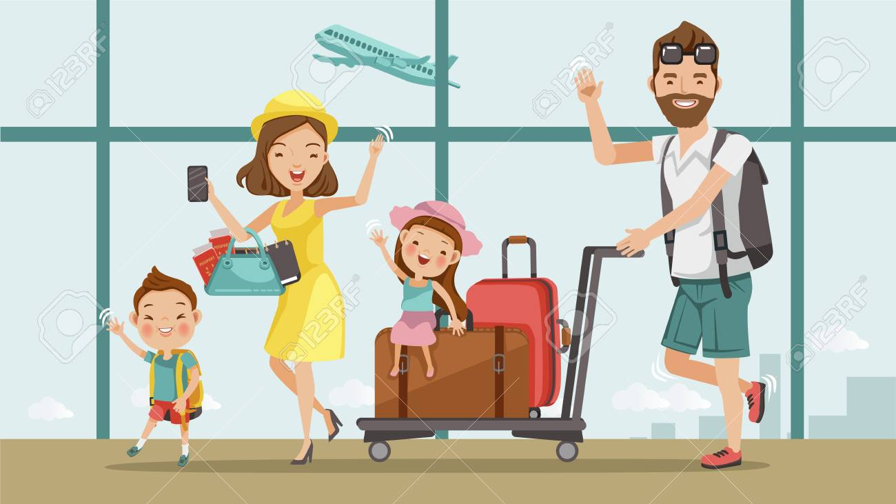 Family travel. Father ,mother, son and daughter at the airport.Happy family concept. Cartoon Asian Character Family, illustration, vector,Isolated from the background Airport - 97901865