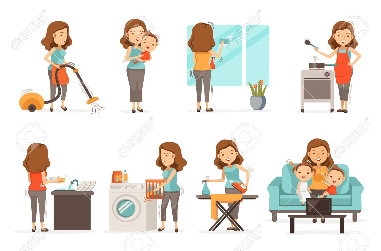 Smiling housewife and happy activities Set of affairs woman. Baby care ,irons, vacuums, cleans, cooks,Wash dishes,Wipe the mirror, brings up children, video call. Isolated on white background - 97904108