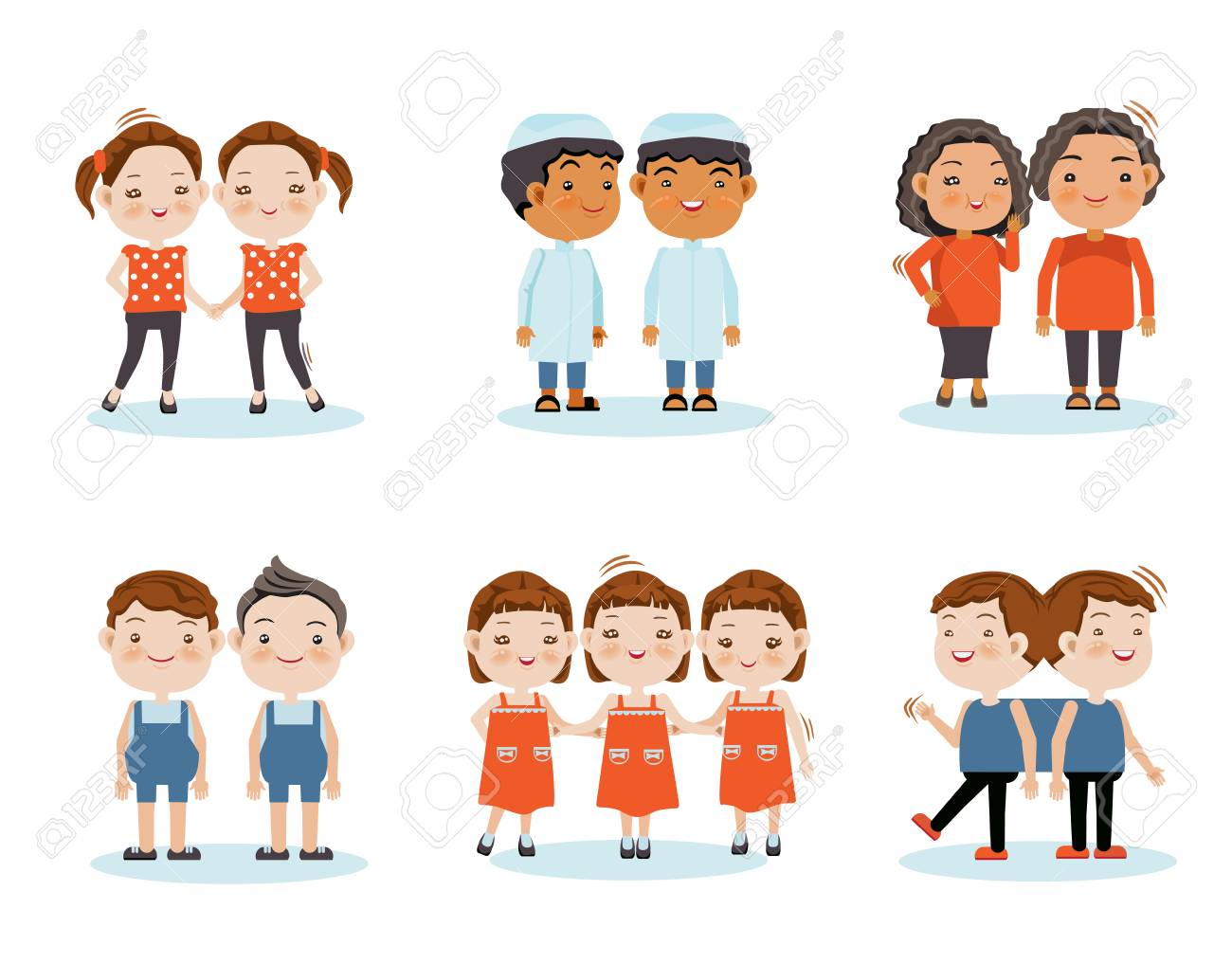 Cute little smiling boys twin, girl twins, triplets, twins stick together. Vector illustration, isolated on white background. - 97839916