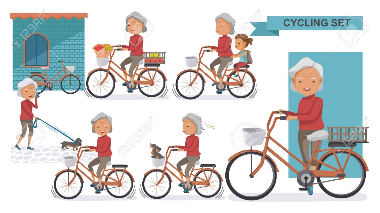 Cycling Older set. Grandma and little niece. female Relax in the city bike, Doggy, exercise, Go to work, go to the market, flower in a bicycle basket. Vector illustration. isolated on white - 97847522