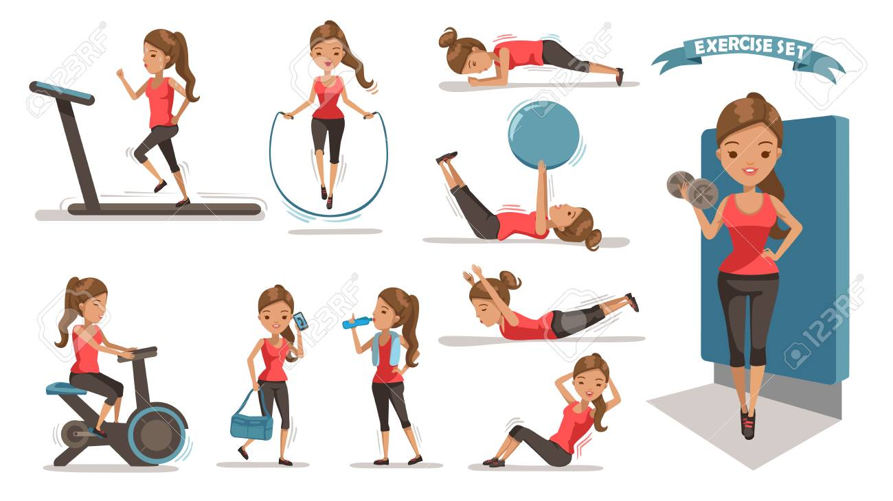 Exercise woman Health female are exercising character design set. Cute girl Full Body cartoon set. Isolated on white background. vector illustration - 97849382