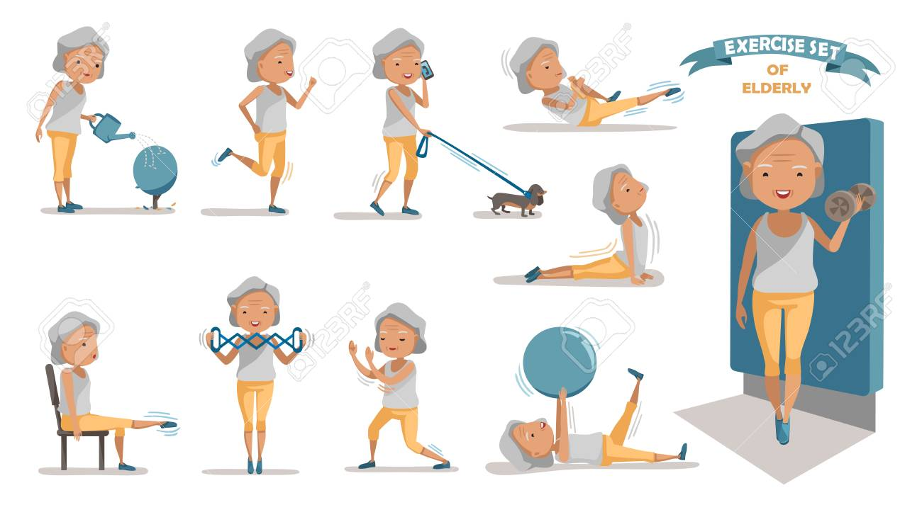 Senior exercise of female. exercising character design set. at home with a simple daily routine. - 97849381