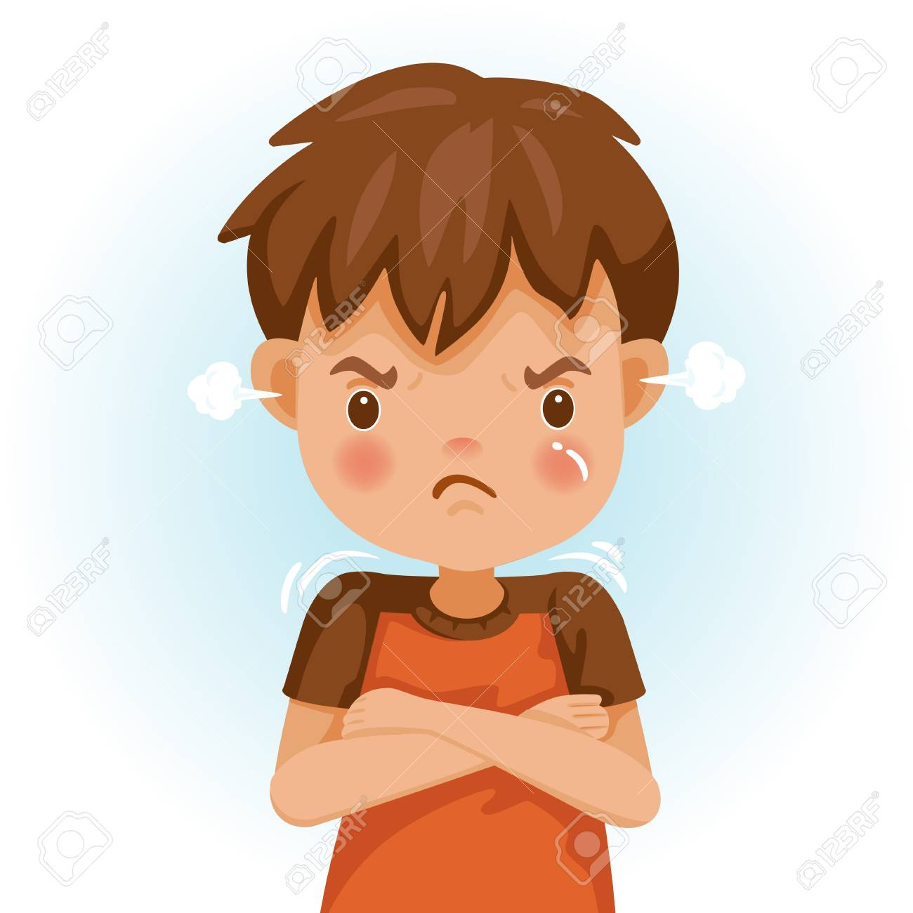 Angry Child The Boy In A Red Shirt Is Expressing Anger Excitement Royalty Free Cliparts Vectors And Stock Illustration Image 114807571