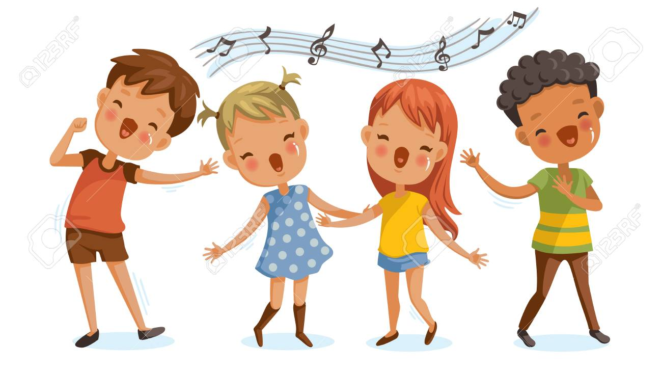 Children Singing. Boys And Girls Singing Together Happily. Cute ...