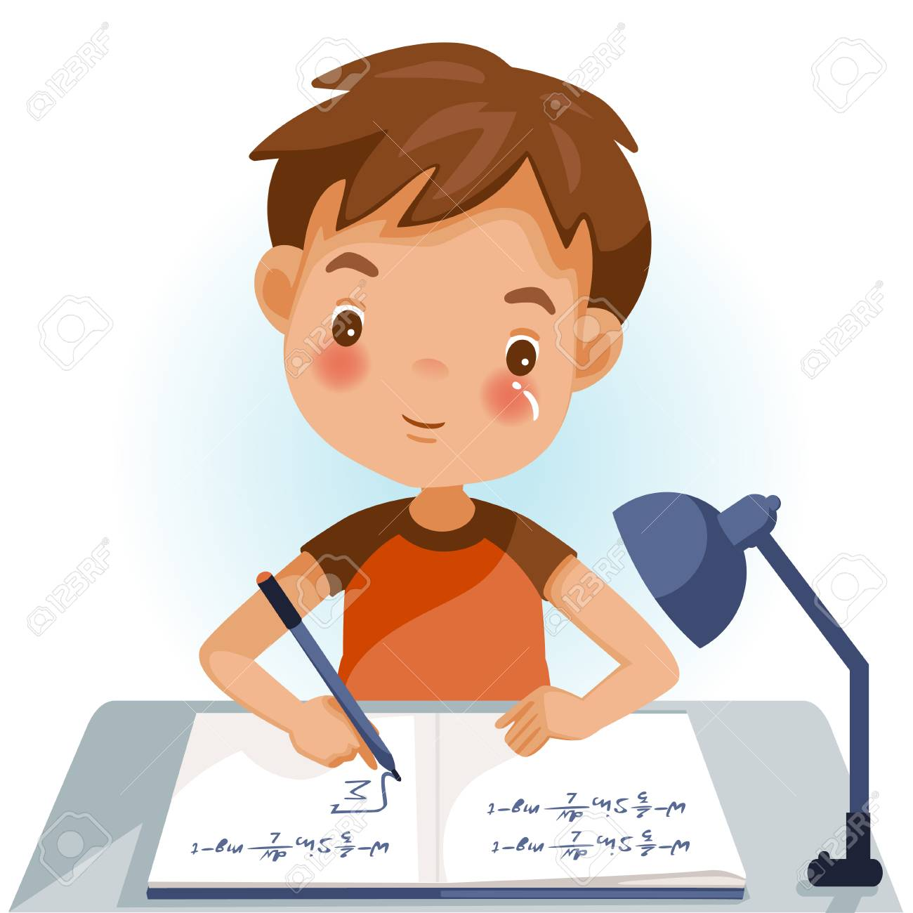Boys are writing, kids doing homework, maths at home. Cartoon cute little boy in red shirt Siting on the desk. The concept of learning age - 105746701