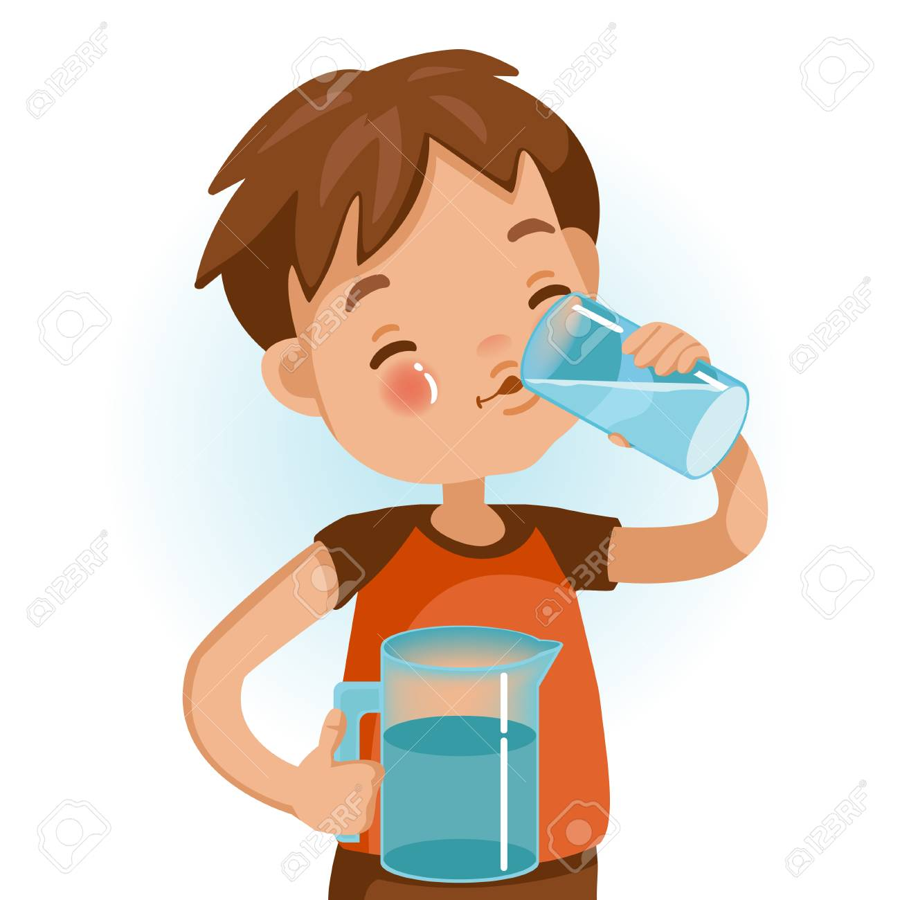 Cute boy in red shirt holding glass of kid drinking water. Emotionally be smile. Healthy concepts and growth in child nutrition. - 105746702