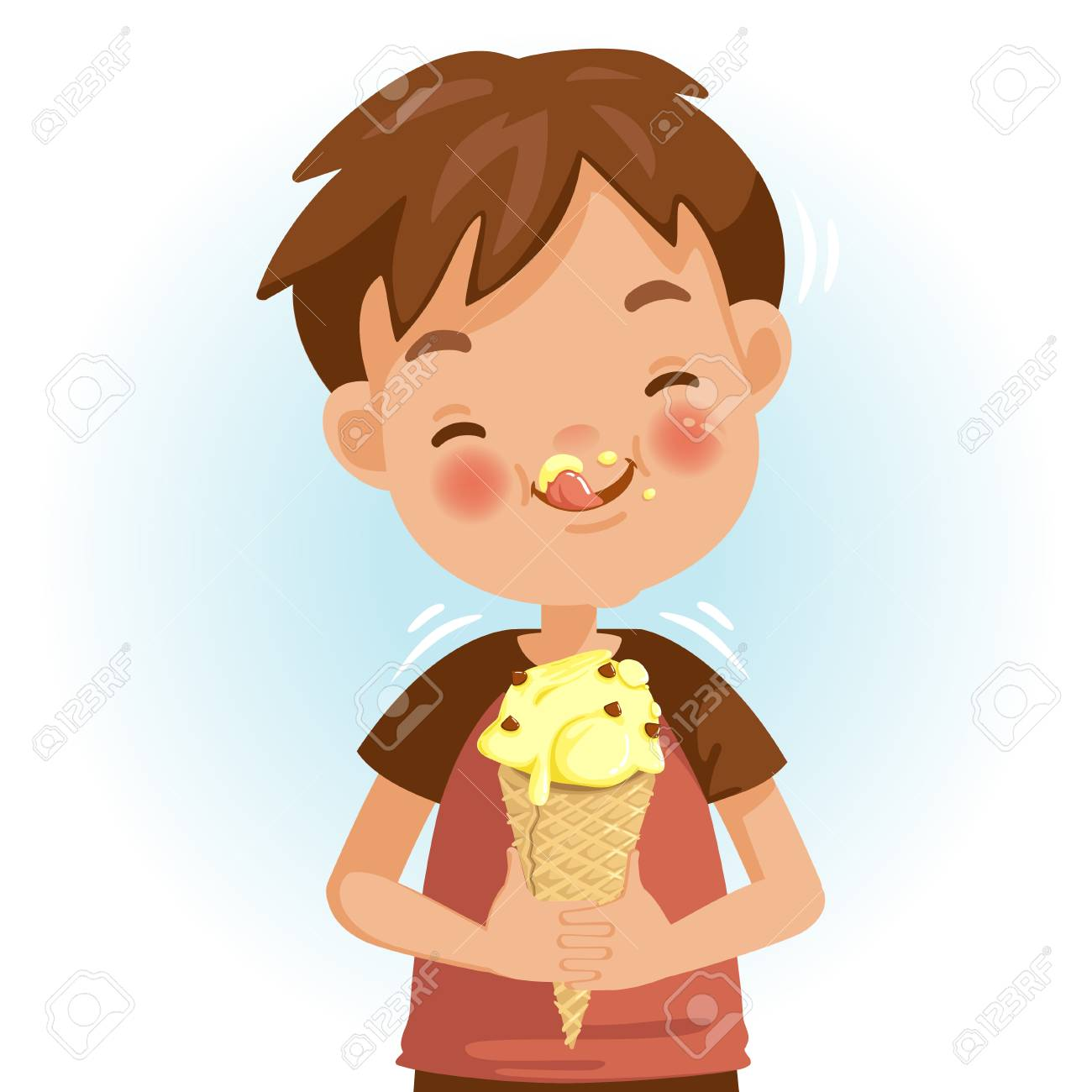 Boy eating ice cream. Emotional mood on the child's face feels good. Delicious and very happy. Licking the ice cream on the cheeks. Cute Cartoon In red shirt - 105746771
