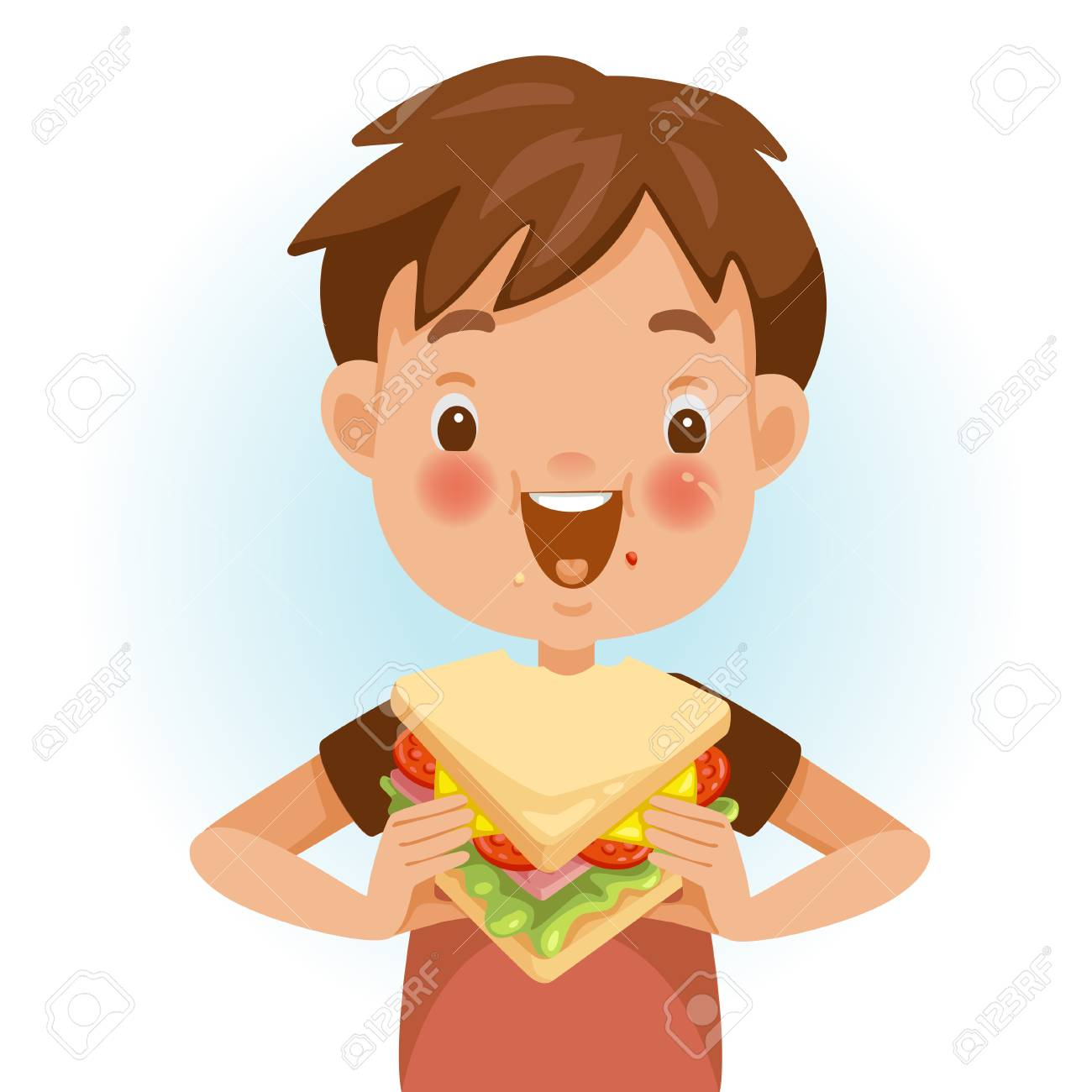 Boy eating sandwich. Emotional mood on the child's face feels good. Delicious and very happy. Good sandwich bites. Cute cartoon in red shirt - 105746776
