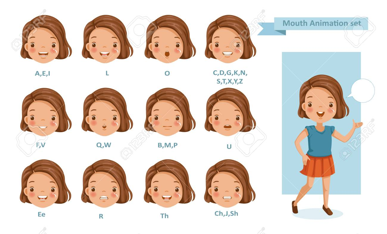Mouth girl animation. lip sync collection for animation. talking mouth. Accent and pronunciation speak. tongue and articulate - 105746773