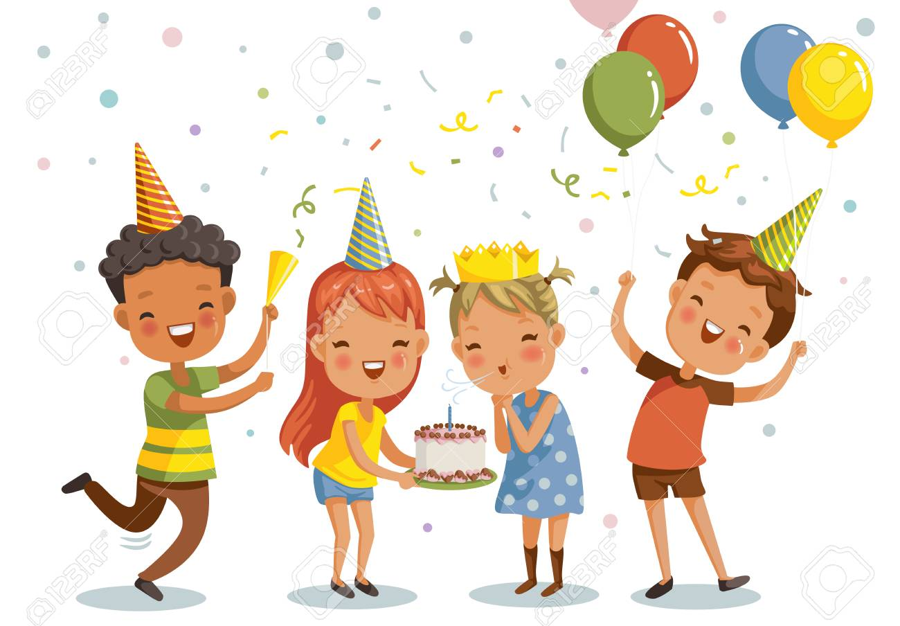 Children birthday party. Happy group of girls and boys having fun together. Vector illustration isolated white background. - 111230931