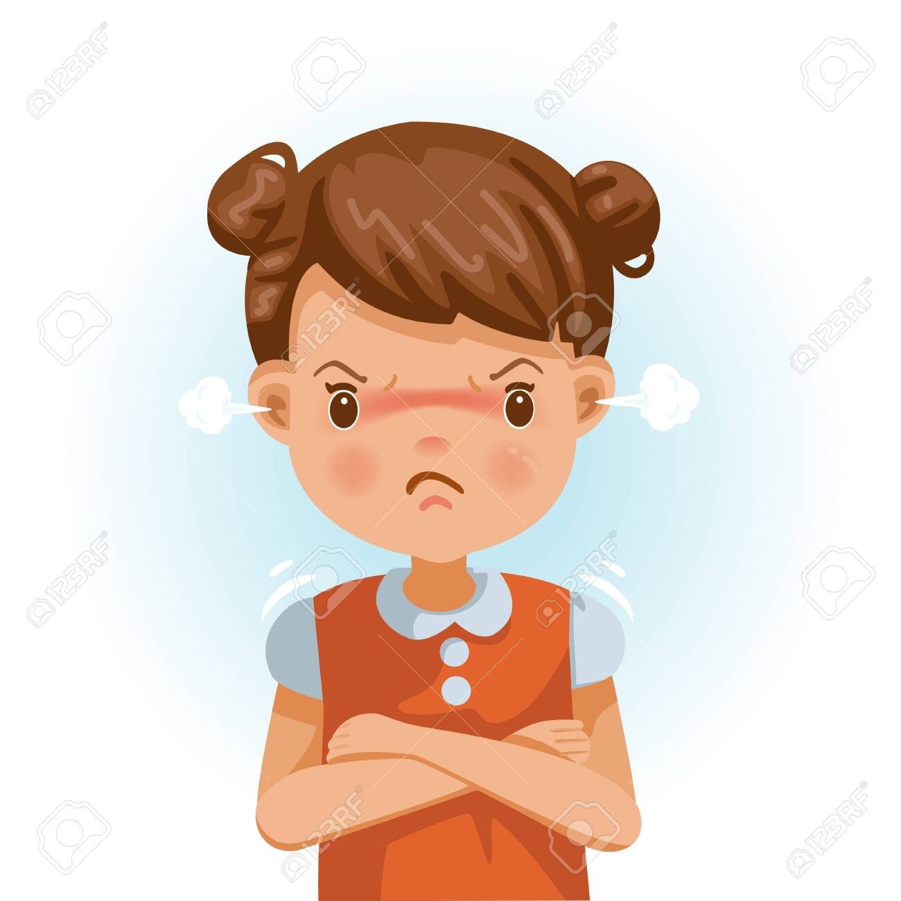 Angry Little Girl Child In A Red Shirt Is Expressing Anger Royalty Free Cliparts Vectors And Stock Illustration Image 146535442