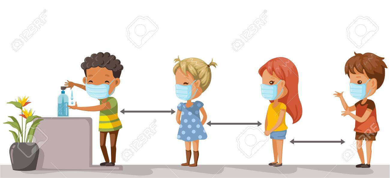 Social distancing. Children at school keep distance away. Boys and girls wearing masks and using alcohol gel. Coronovirus epidemic. protective equipment. Society people to protect from COVID-19. - 146506607