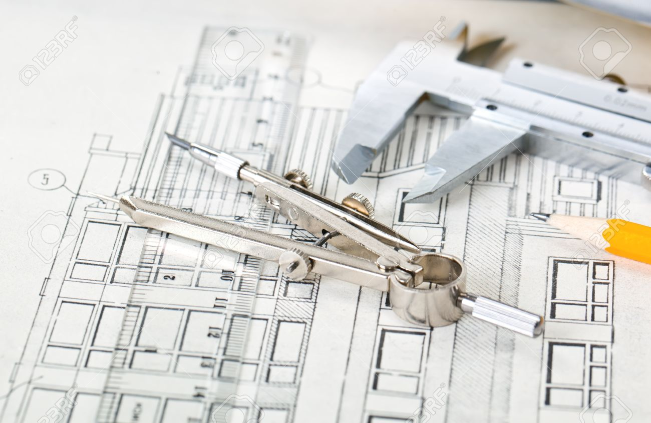 architectural plans of the old paper tracing paper measuring architectural plans of the old paper tracing paper measuring tools and file with the project stock