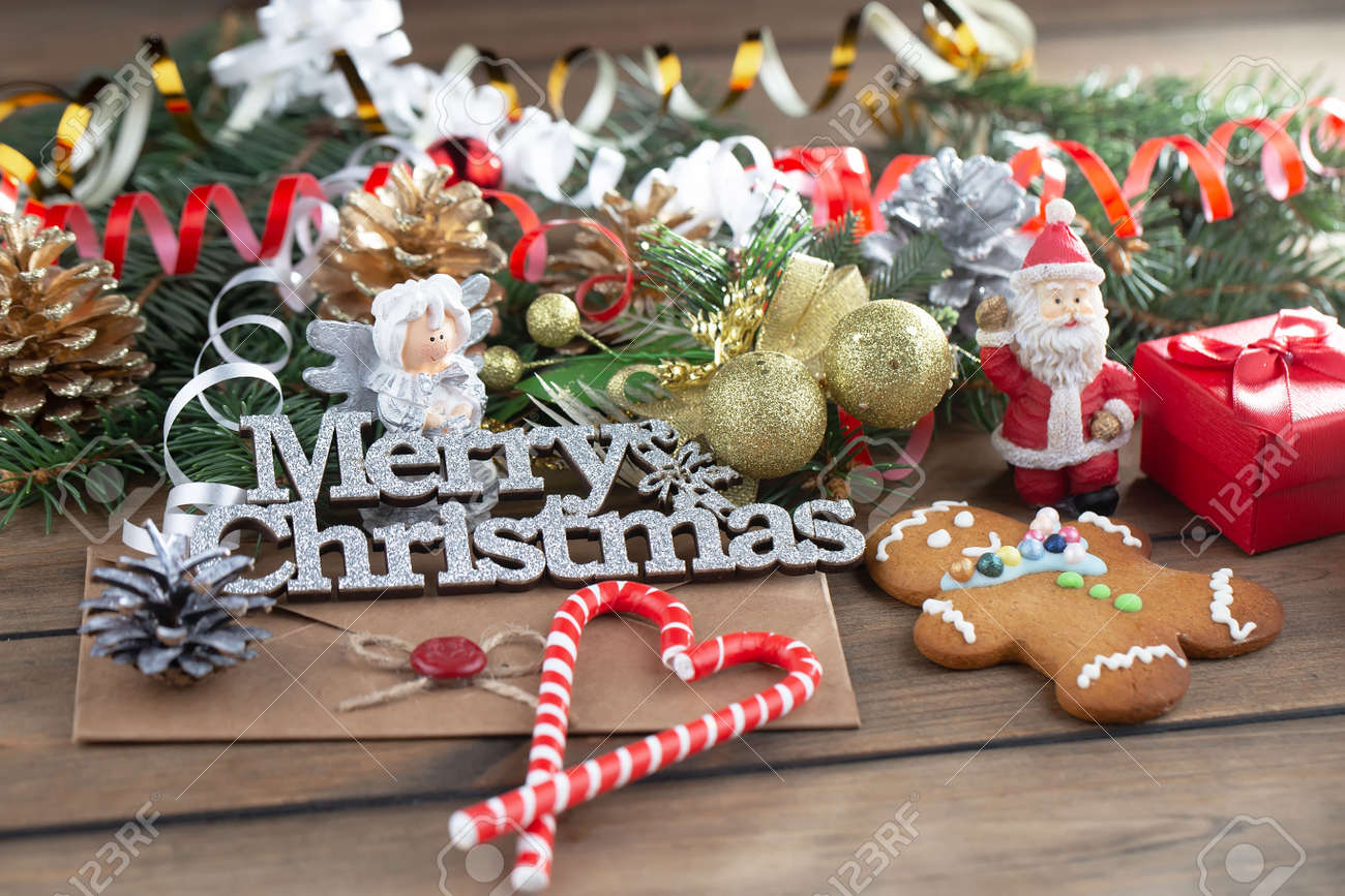 Merry Christmas, postcard with gifts and Christmas decorations. - 157785997