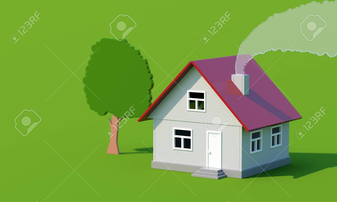 acrylic toy house with smoke and tree on green surface Stock Photo - 13085615