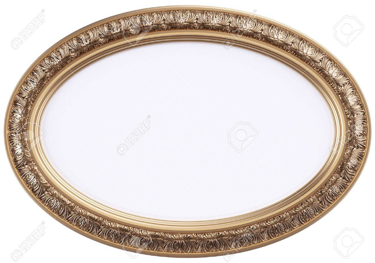 Oval Gilded Picture Frame Or Mirror Isolated On White Stock Photo ...