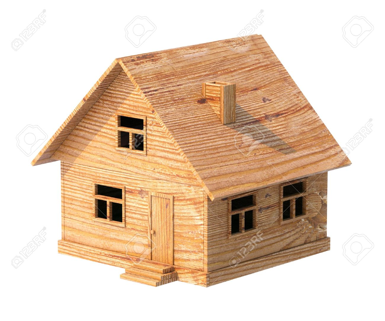 House Made Out Of Wood Toy House Made Of Plywood Isolated On White Stock Photo Picture