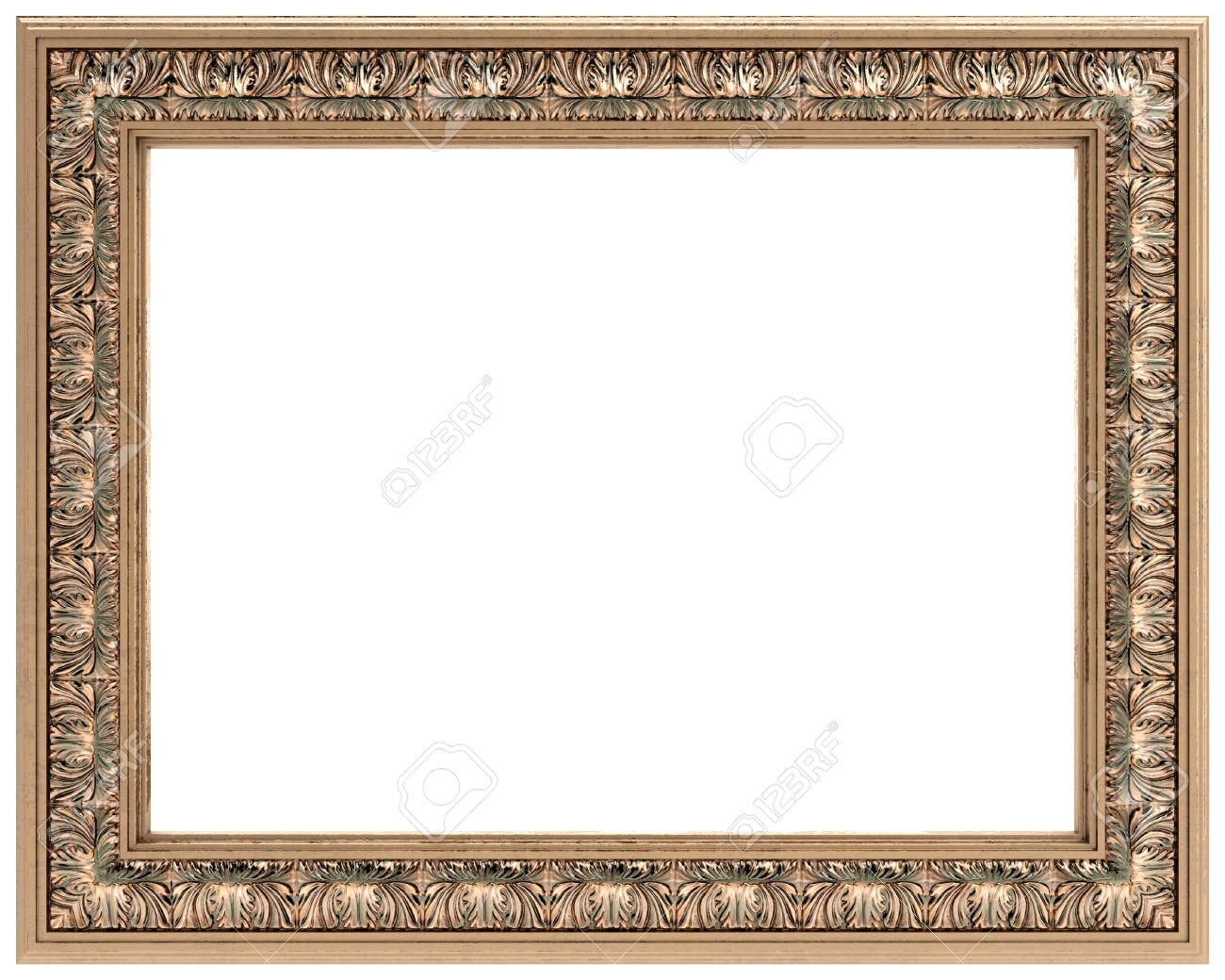 mirror cover rectangular gold carved frame for a mirror or a picture stock photo