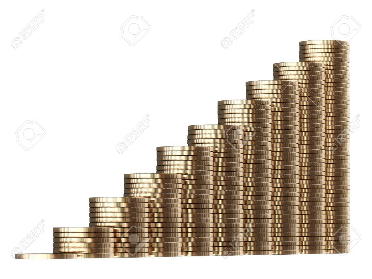 revenue growth in the form of piles of golden coins isolated on white background  first version Stock Photo - 14269084