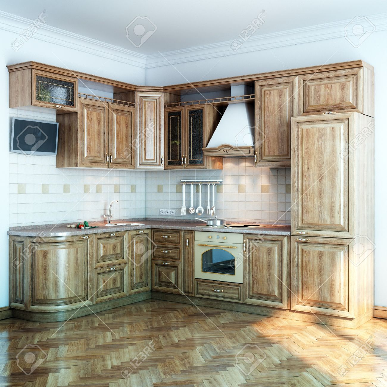 foto de archivo cocina de madera en la nueva sala blanca con suelo de parquet