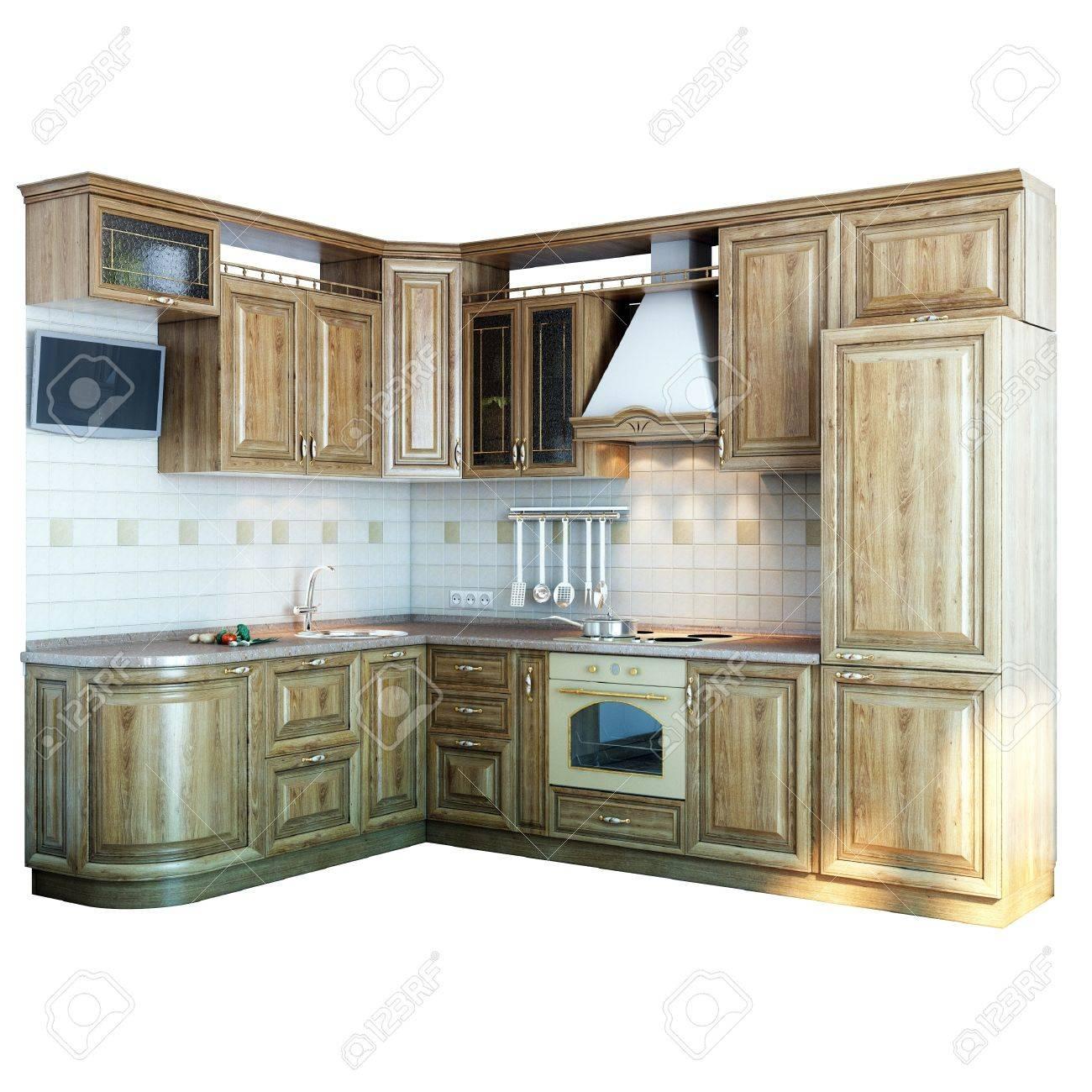 wood kitchen closeup  isolated on white version  Stock Photo - 14260187