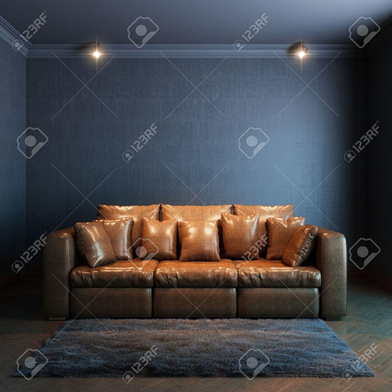 Intérieur pour la version de repos avec canapé en cuir marron et ...