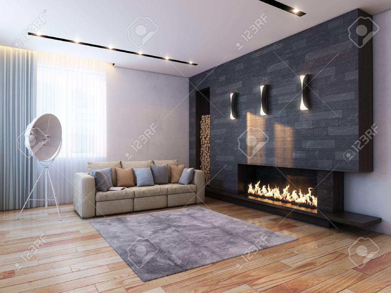 New Interior Design new interior design in minimalist style color version stock photo