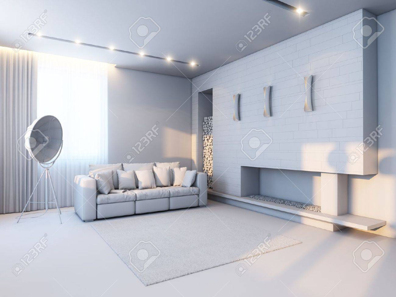new interior design in the style of minimalism  version in gray material Stock Photo - 14949024