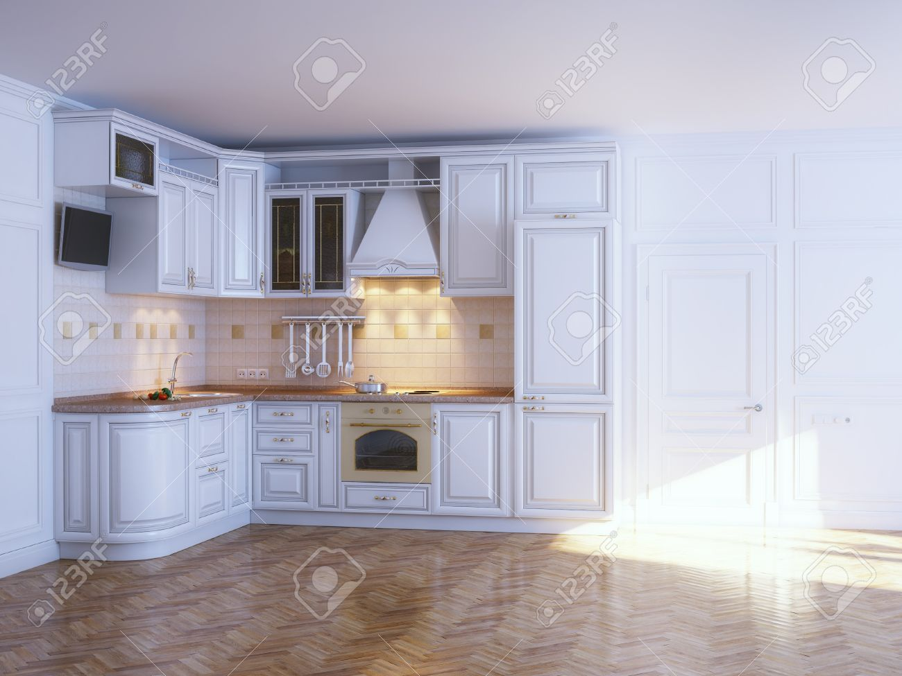 Classic kitchen cabinets in new white interior with parquet - 16572960