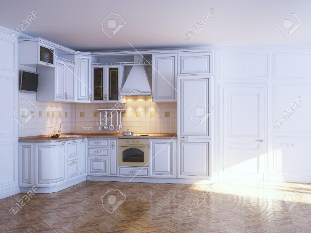 Muebles Clásicos De La Cocina En Blanco Con Interior Nuevo Parquet ...