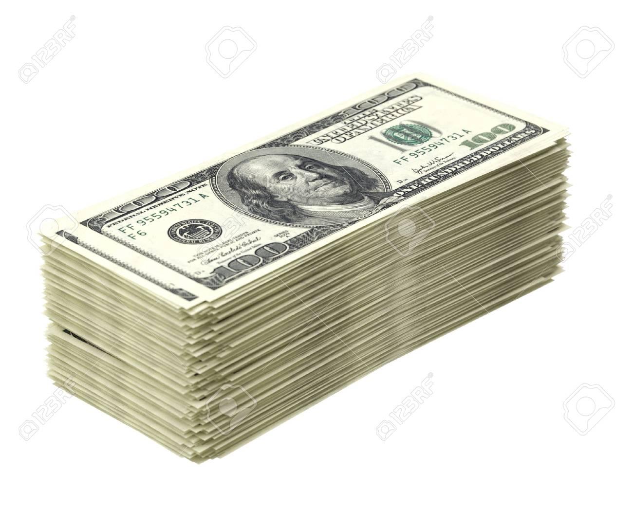 Big pile of money isolated on white dollar version - 16572959