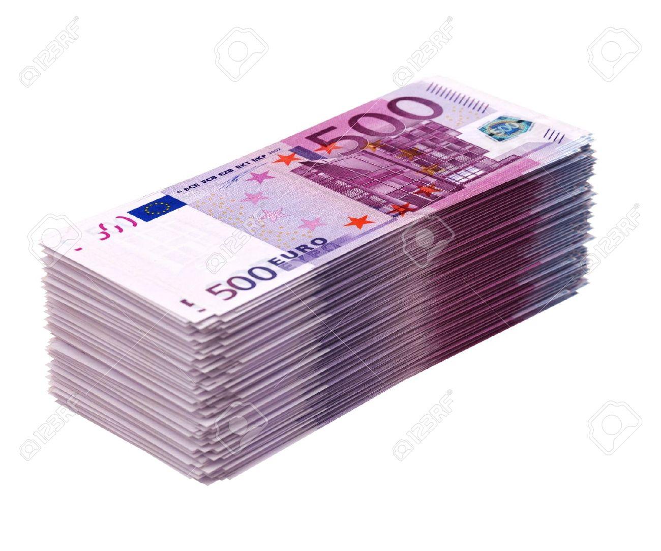 Big pile of money isolated on white  euro version Stock Photo - 16572957