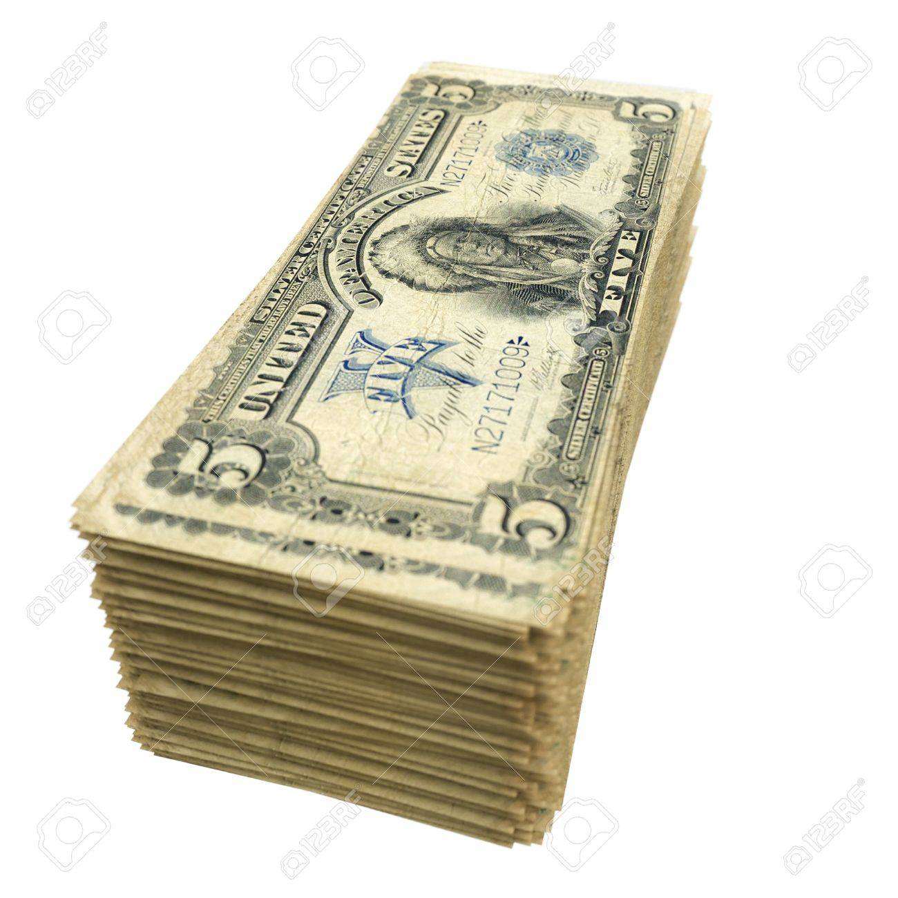 stack of vintage American money isolated on white background Stock Photo - 16562986