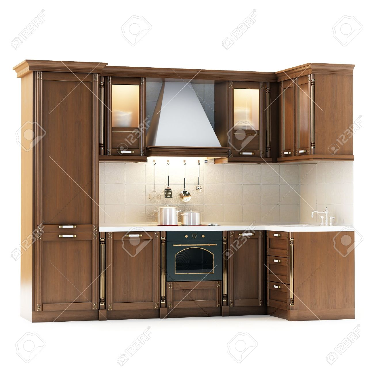 Classic Wooden Kitchen Isolated On White Stock Photo - 17215685