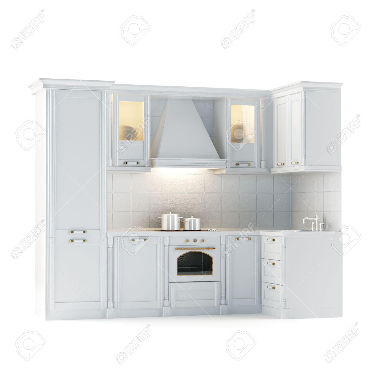 Classic White Kitchen Classic White Kitchen Cabinet Isolated On White Stock Photo
