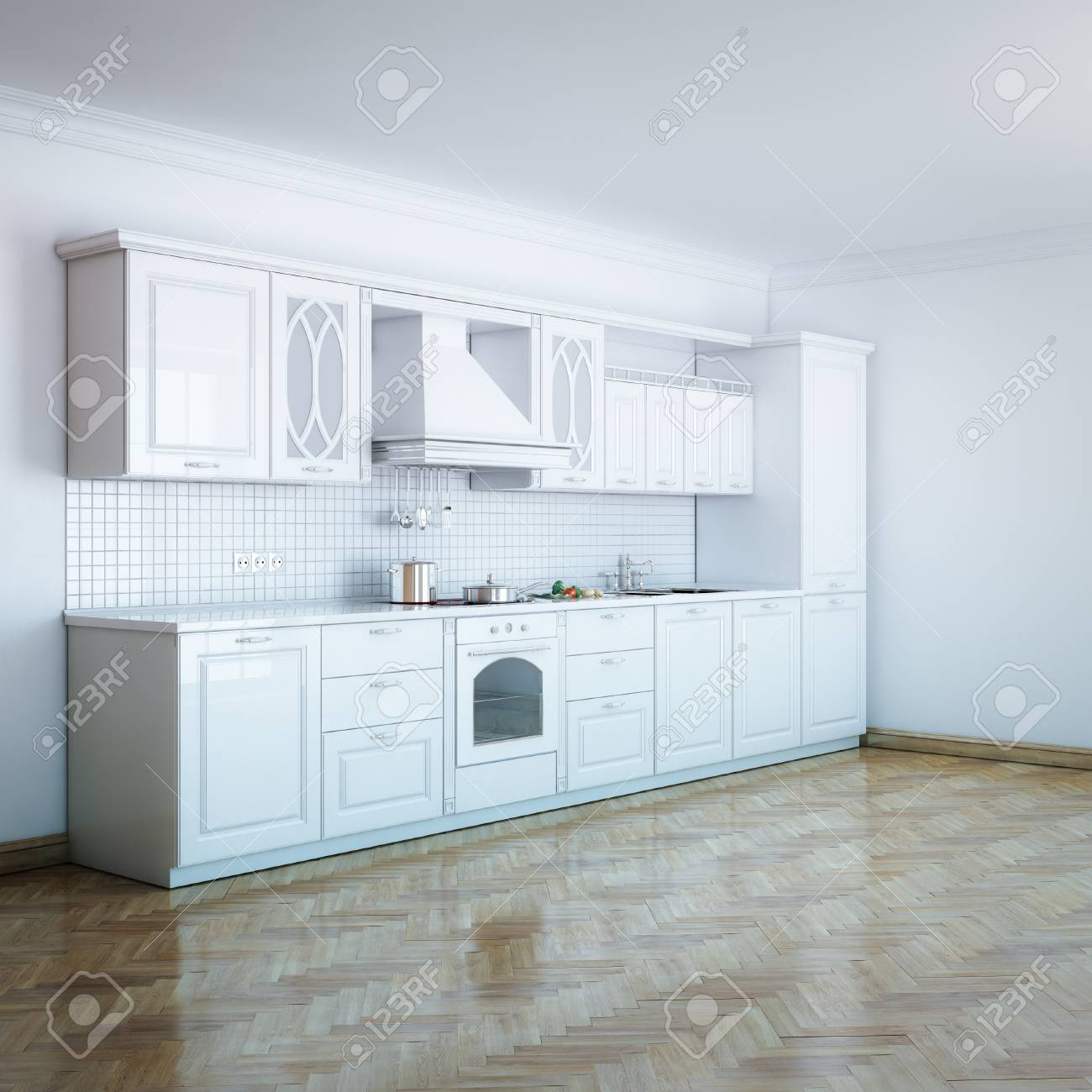 Classic Luxury White Kitchen With Hard Wood Stock Photo, Picture And ...