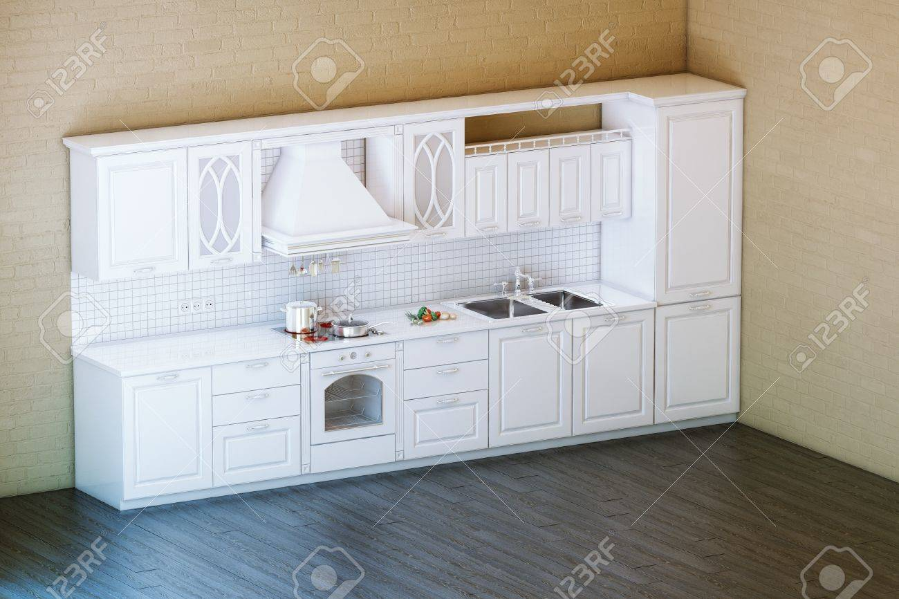 Classic White Kitchen Cabinet With Parquet Floor Stock Photo ...