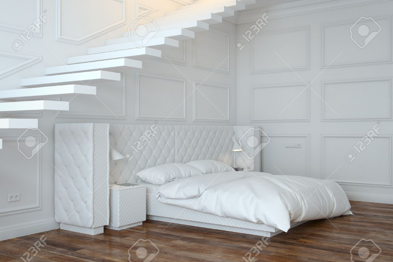 White Bedroom Interior With Stairs  Perspective View Stock Photo - 20522647
