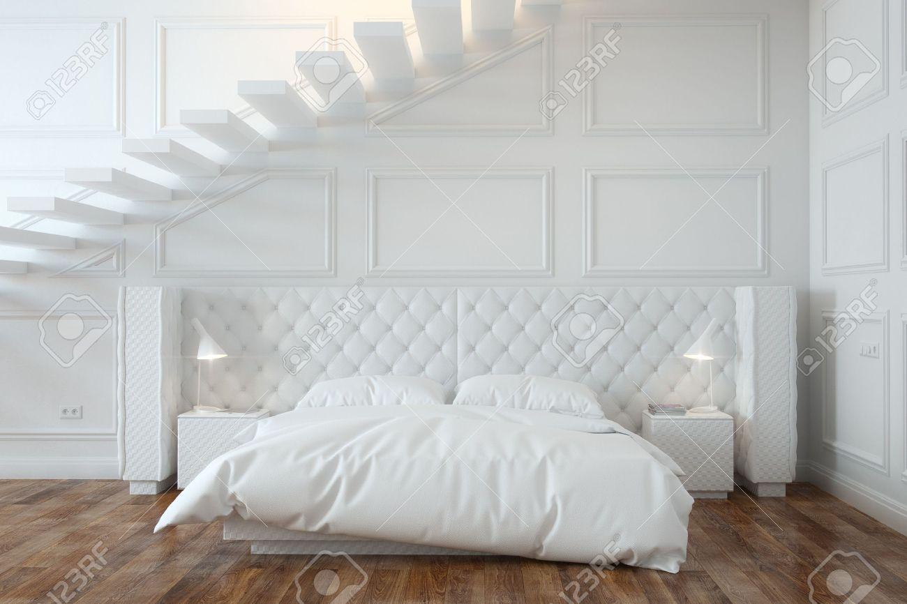 Vit sovrum interiör med trappor framifrån royalty fria stockfoton ...