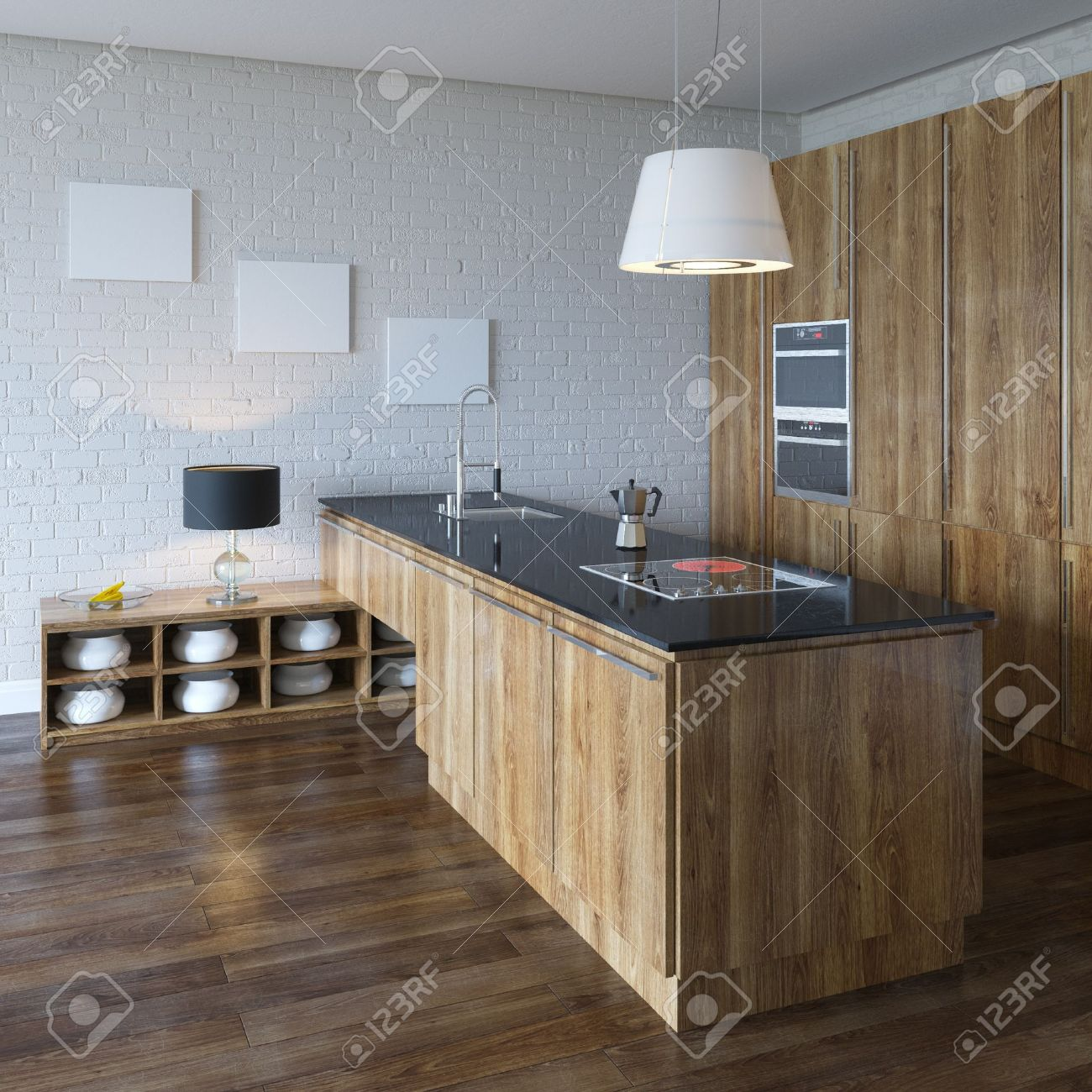 Luxury Kitchen Cabinet  Wooden Furniture  Perspective View Stock Photo - 20522711