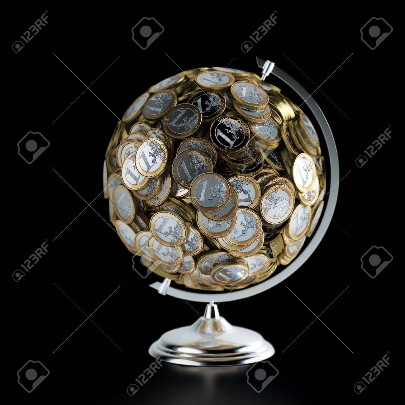 The Coins Globe Money Conceptual Picture Isolated On Black - 20522670