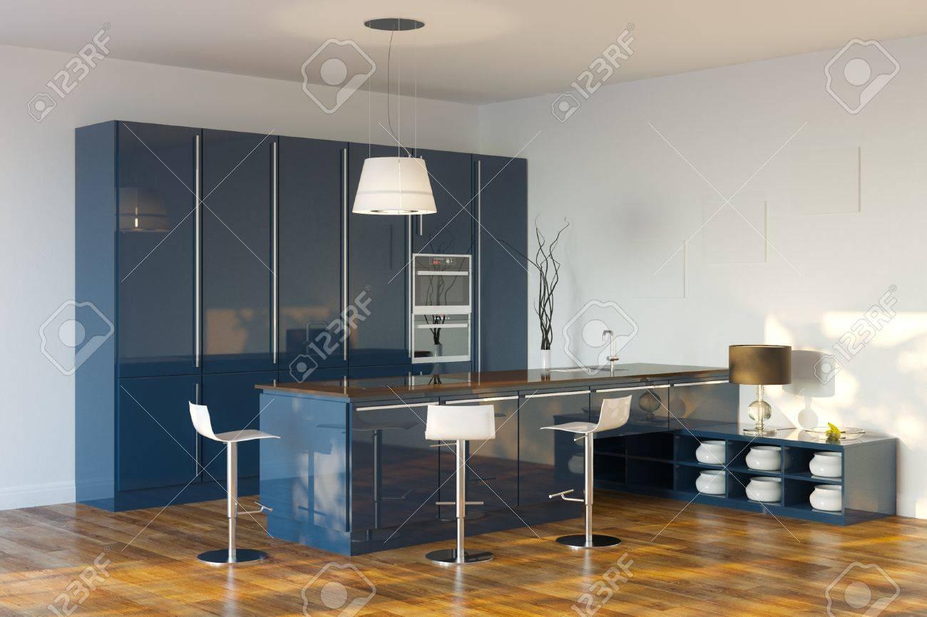 Luxury Hi-Tech Dark Blue Kitchen Perspective View - 20522683