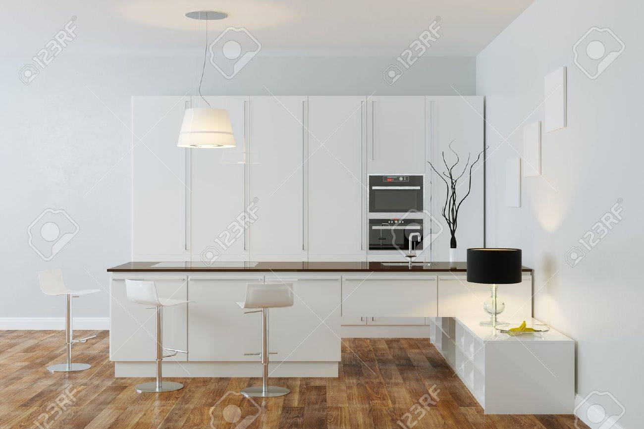 White Luxury Hi-Tech Kitchen With Bar Frame Version - 20522665