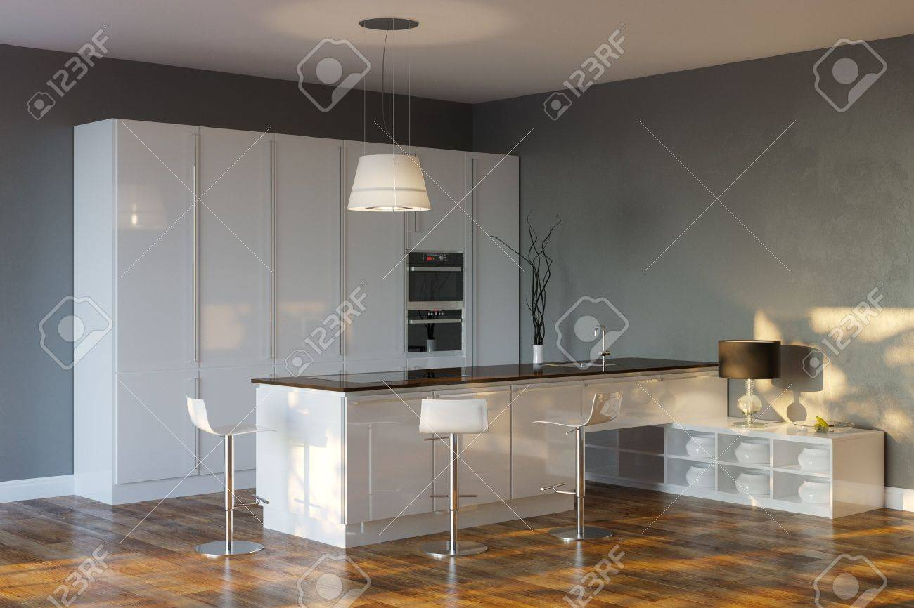 Luxury Hi-Tech Kitchen With Grey Walls And Bar Stock Photo - 20522686
