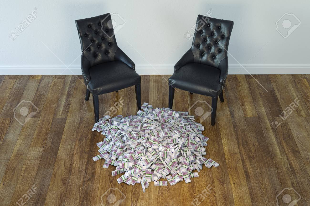 Interior With Black Chairs And Money On Laminate Floor Stock Photo - 23041789