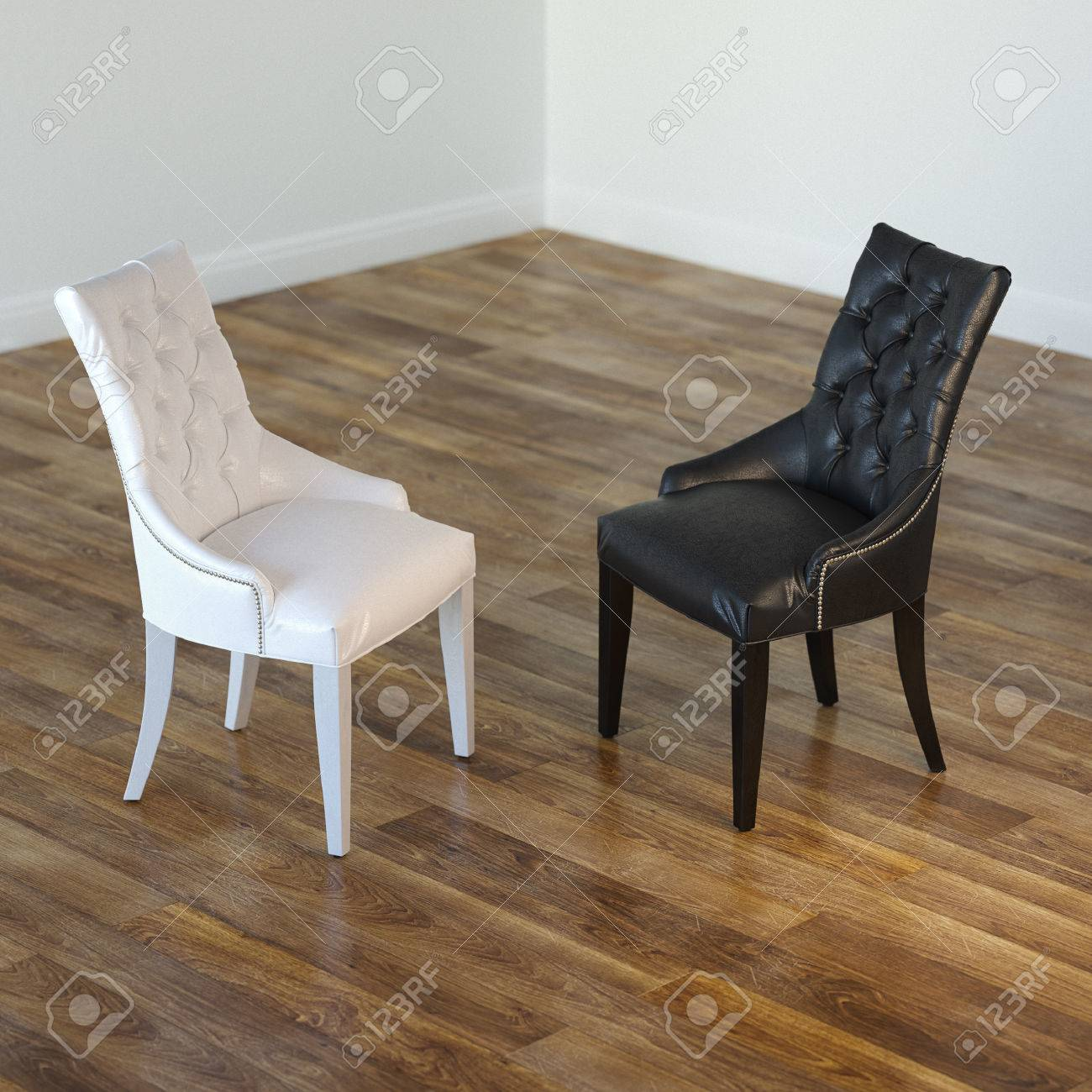 Minimalist Interior Room With Black And White Chairs Stock Photo - 23041793