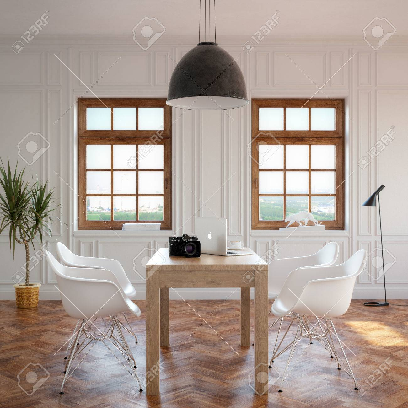 Elegance Dining Room With Classic Wooden Table And Cozy Chairs - 25203021