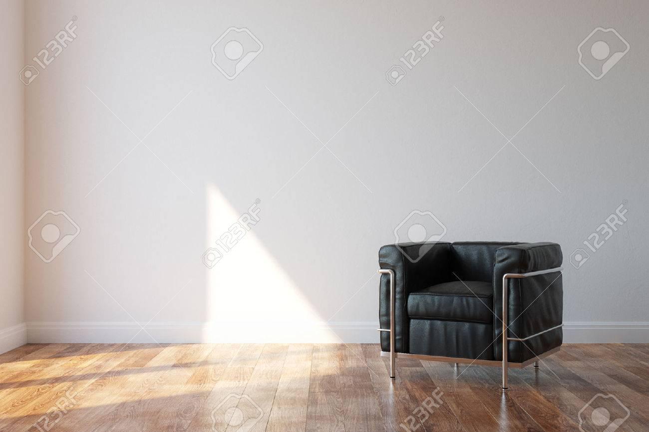Black Luxury Leather Armchair In Modern Style Interior - 25203085