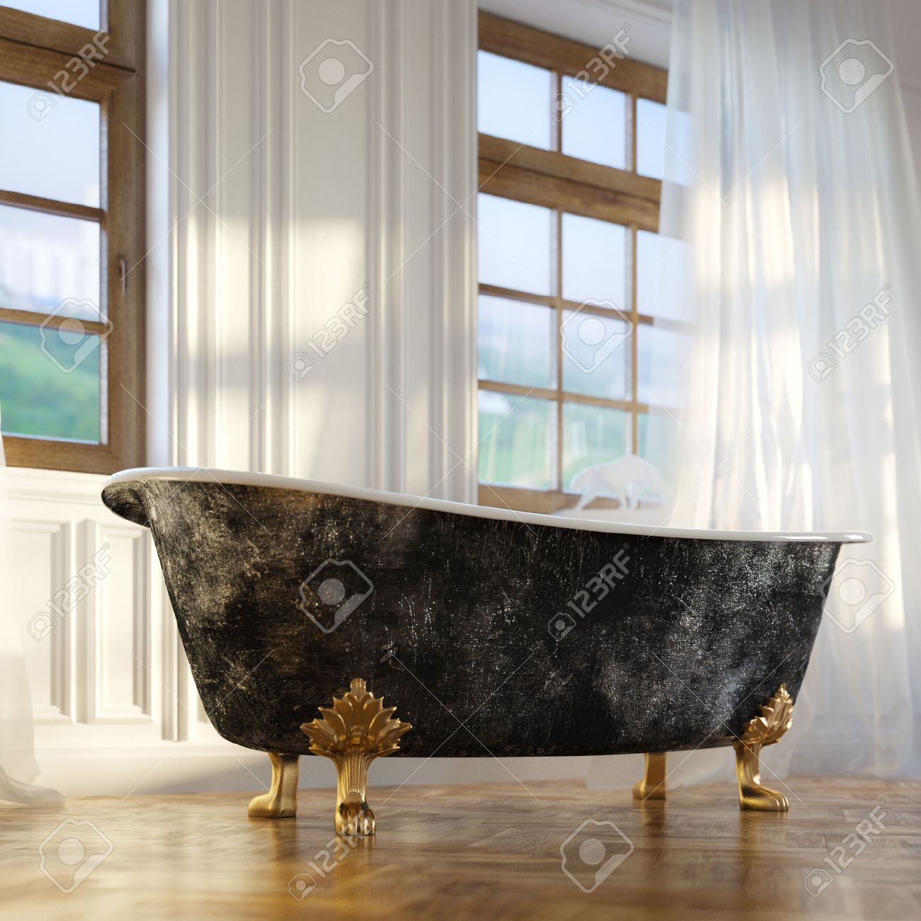 Luxury Retro Bathtub In Modern Room Interior 2d Version - 25203191