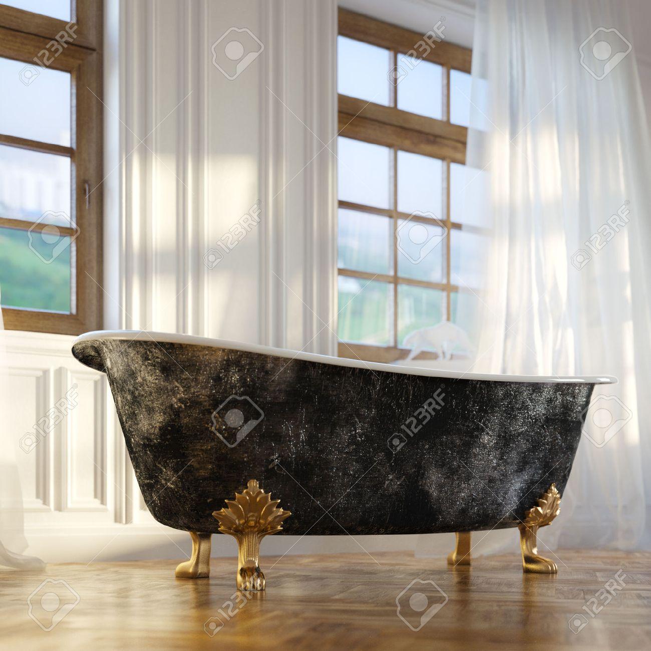 Luxury Retro Bathtub In Modern Room Interior 2d Version